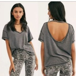 Free People T-Shirt All Mine Open Back Gray   XS